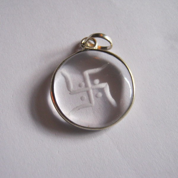 Crystal etched swastika pendant swinging arms glass etched pendant aloadofball Images